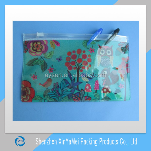 new style hot sale lovely cheap foldable clear vinyl pencil bag