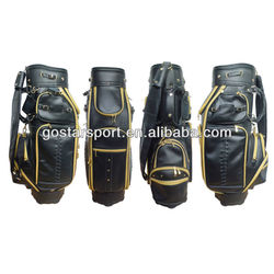 "9"" Genuine Leather 5 Top Dividers Deluxe Golf Bag"