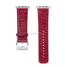 Wholesale Genuine 100% Crocodile Leather Strap for Apple Watch, Red Color