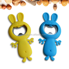 Cute Rabbit Shaped Silicone With Stainless Steel Bottle Opener Of Kitchen Tools
