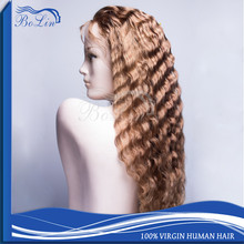 Fashionable Real Indian Human Hair Deep Wave Long Hair Wigs For Women 4# Color Har Indian Women Hair Wig