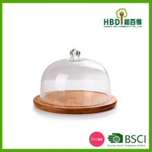 Glass cheese/cake Dome with bamboo board