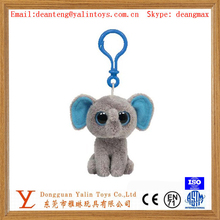 Soft plush elephant toys keychain big eyes toys with plastic carabiner/buckle