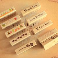 Vintage Blessing Wooden material Stamps DIY Decorative Stamp Gift for Scrapbooking