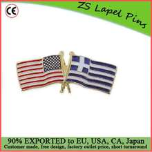Custom top quality hot product gift USA and Greece Crossed Friendship Flag Lapel Pin