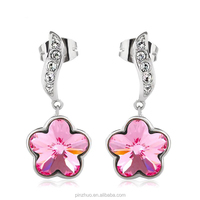 China high quality jewelry, zinc alloy with rhodium plated earrings