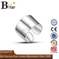 online wholesale wide open adjustable size 925 plain silver ring