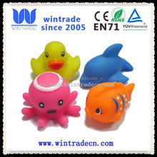 whale/dolphin/fish/octopus/duck cute floating rubber bath toy set
