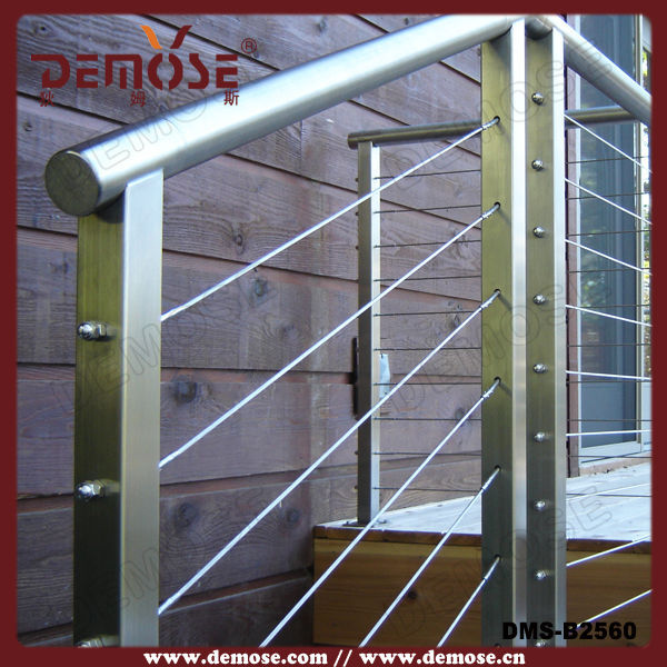 Outdoor stair railing kit stainless steel cable