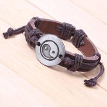 retro leather weave wrap religious bracelet