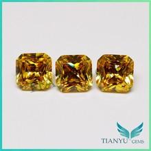 10*10mm fake diamond square cut golden synthetic gem stone cut corner
