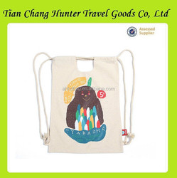 New style cartoon kids cotton canvas drawstring bag with die-cut handles