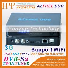 Satellite decoder azfree duo 3G iks sks satellite receivers for south america