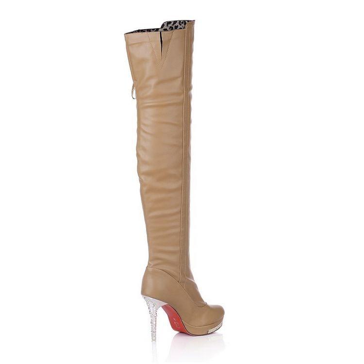 Single Autumn And Winter Rhinestone High-Heeled Boots Nightclub Over