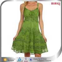 indian embroidered dresses adjustable sexy spaghetti strap girls dress casual summer beach dresses