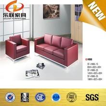 Red sofa cum bed design 3 seater leather sofa H966