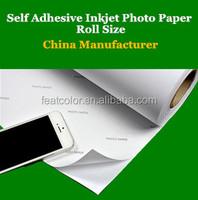Self adhesive high gloss inkjet photo paper roll size