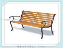 Outdoor cast iron wooden garden bench road chair