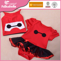 Lovely Baby Girls Summer Clothes Red Short Sleeve Rompers Tutu Dress + Cute Hat 2pcs/set High Quality Baby Cotton Clothing