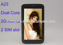 2 SIM slot 2G dual core 7 inch driver a23 mid android tablet wifi 512MB/4G bluetooth