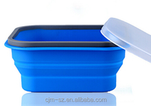 New Product Folding Microwave Lunch Box Square Container Silicone Box