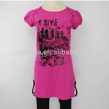 2014 nuevo modelo verano encantador personalizados baratos mujer extendido t camisa