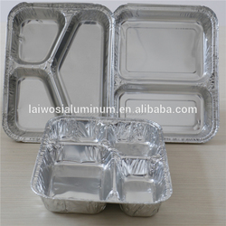 Supply 2/3/4 compartments disposable aluminum foil food lunch box with lid