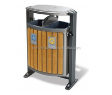 wooden recycling waste bin with ashtray for park outdoor street and seaside