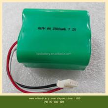2500 mAh 7.2v aa aspirapolvere batteria più pulito per l'ambiente nh batteria ricaricabile