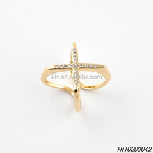 Cross Gold Plated Ring With Stones