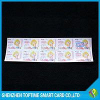 Top quality 10 pin number tear off prepaid scratch card