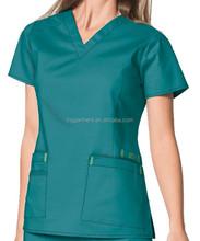Women's Solid V-Neck Poly Cotton Popline Medical Top