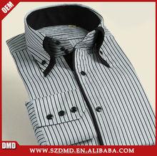 Men's Double Button Collar Dress Color Stripe Shirt