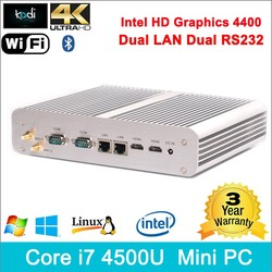 ultra small i 7 pc Core i7 4500U CPU Haswell Core 4K HD Dual display intel case pc gamer usb 3.0 WIFI Bluetooth