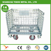 European Warehouse Foldable Steel Cage 4 Wheels Wire Mesh Cage Metal