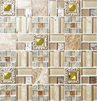 roman stone mix strip pattern glass mosaic tile art