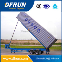 DFRUN manufacturer 20FT 40FT tipping container semi trailer / container dumper trailer chassis / tilt bed container trailer