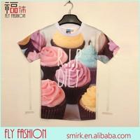 DK050# Wholesale Activated Color Changing Gateaux Cake Pattern 3D T-shirt China Supplier T-shirt