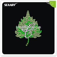 green leaves high quality dmc hotfix rhinestone custom design for clothing