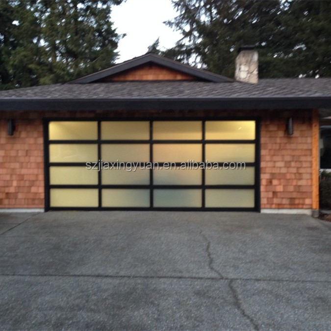 Automatic sectional transparent glass polycarbonate garage for Sectional glass garage door