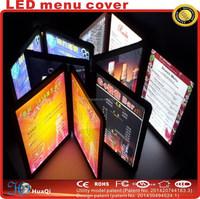 Led menu cover/ illuminated LED menu/ menu holder for restuarant 2015 new product