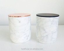 White Marble Scented Candles Jars With Wood Lid
