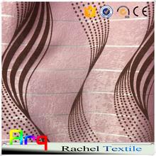 Pink whitle modern design silk like polyester living room flocked fabrics cheap curtain 100% blackout