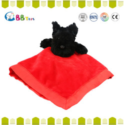 red face towel with a black dog toys sweep around the world