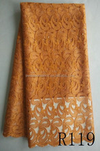 African net lace fabric / net embroidery lace trim / net lace fabric R119 orange