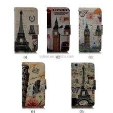 Top Selling New Design Popular Eiffel Tower Covering Printed Mobile Leather Case
