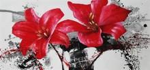 Nuevo estilo de producción pintado a mano de flores de color rojo de pintura al óleo sobre lienzo wz-290