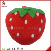 2015 Hot sale custom plush CD DVD carrying case bag stuffed cartoon strawberry CD holder soft cartoon fruit CD sleeves wallet