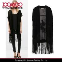 Gypsy Women Short Sleeve embroidery tassel fringe Kimono Black Top Blouse
