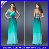 Charming Strapless A Line Chiffon Gradient Color Floor Length Two Color Evening Dress 2014 New